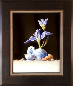 Chinees vaasje met blauwe Iris   stilleven schilderij van Ruud Verkerk koopt u nu online! ✓Hoogste kwaliteit ✓Veilig betalen ✓Gratis verzending