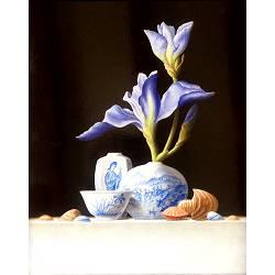 Chinees vaasje met blauwe Iris | stilleven schilderij van Ruud Verkerk koopt u nu online! ✓Hoogste kwaliteit ✓Veilig betalen ✓Gratis verzending