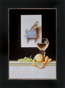 Gezicht op Gouda met Roodborstje | stilleven schilderij in olieverf van Ruud Verkerk | Exclusieve kunst online te koop bij Galerie Wildevuur