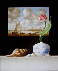Glas in lood venster met tulp | schilderij in olieverf van Ruud Verkerk | Exclusieve kunst online te koop in de webshop van Galerie Wildevuur