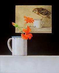Blauwe Iris in nis | schilderij in olieverf van Ruud Verkerk | Exclusieve kunst online te koop in de webshop van Galerie Wildevuur