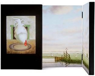 Ode aan Jan Mankes, drieluik met hanen | stilleven schilderij in olieverf van Ruud Verkerk | Exclusieve kunst online te koop bij Galerie Wildevuur