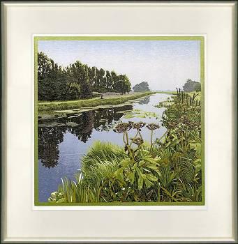 Oude stroom   landschap in houtsnede van Siemen Dijkstra koopt u nu online! ✓Hoogste kwaliteit & service ✓Veilig betalen ✓Gratis verzending