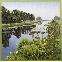 Oude stroom | landscape painting in woodcut by Siemen Dijkstra now for sale online! ✓Highest quality & service ✓Safe payment ✓Free shipping