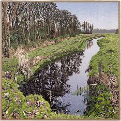 Oude diep | landscape painting in woodcut by Siemen Dijkstra now for sale online! ✓Highest quality & service ✓Safe payment ✓Free shipping