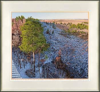 Avond valt over de Lheeder Es | kleurenhoutsnede van Siemen Dijkstra | Exclusieve kunst online te koop in de webshop van Galerie Wildevuur