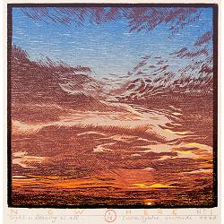 Now Here no 1 | landscape painting in woodcut by Siemen Dijkstra now for sale online!Highest quality & serviceSafe paymentFree shipping