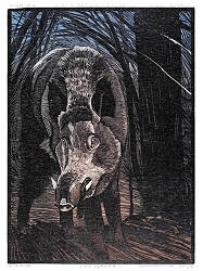Wild Boar, Sus Scrova I | colour woodcut by Siemen Dijkstra now for sale online!Highest qualitySafe paymentFree shipping