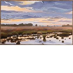 Holtveen, evening | landscape in watercolor by Siemen Dijkstra now for sale online!Highest quality & serviceSafe paymentFree shipping
