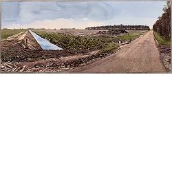 Scheerseveldweg richting de Krim | landschap in aquarel van Siemen Dijkstra koopt u nu online! ✓Hoogste kwaliteit ✓Veilig betalen ✓Gratis verzending