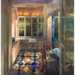 Kamer in vroege zomer | interieur schilderij in olieverf van Simeon Nijenhuis | Exclusieve kunst online te koop in de webshop van Galerie Wildevuur