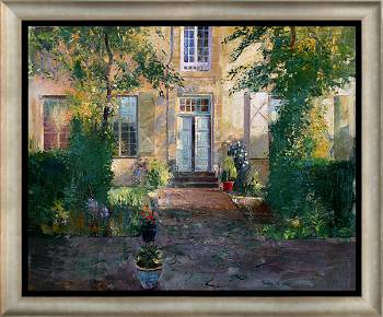 Maison des Soeurs in Mai | Landschaft Gemälde in Ölfarbe von Simeon Nijenhuis kaufen Sie jetzt online! ✓Sichere Zahlung ✓Kostenloser Versand