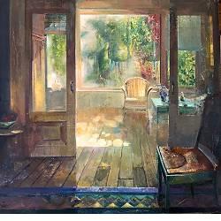 Kamer met rieten stoel | interieur schilderij van Simeon Nijenhuis koopt u nu online! ✓Hoogste kwaliteit & service ✓Veilig betalen ✓Gratis verzending