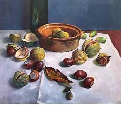 Kastanjes | stilleven schilderij in olieverf van Simeon Nijenhuis koopt u nu online! ✓Hoogste kwaliteit & service ✓Veilig betalen ✓Gratis verzending