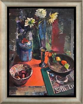 Herbststillleben mit Dahlien | Stilleben Gemälde in Ölfarbe von Simeon Nijenhuis kaufen Sie jetzt online! ✓Sichere Zahlung ✓Kostenloser Versand