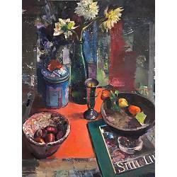Herfststilleven met Dahlias | schilderij van een stilleven in olieverf van Simeon Nijenhuis koopt u nu online! ✓Veilig betalen ✓Gratis verzending