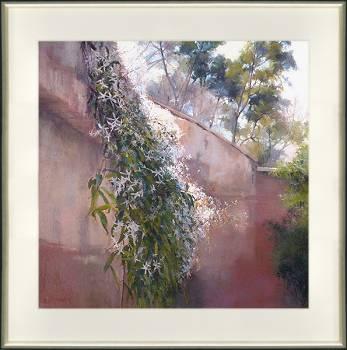 Granada in de ochtend | schilderij van een landschap in pastel van Sophie Amauger | Exclusieve kunst online te koop bij Galerie Wildevuur