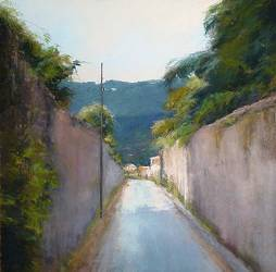 Cudillero | schilderij van een landschap in pastel van Sophie Amauger | Exclusieve kunst online te koop in de webshop van Galerie Wildevuur