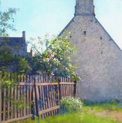 Voor het huis van Marcel | schilderij van een landschap in pastel van Sophie Amauger | Exclusieve kunst online te koop bij Galerie Wildevuur