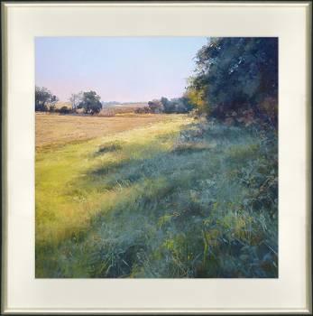 Blauw gras | schilderij van een landschap in pastel van Sophie Amauger | Exclusieve kunst online te koop in de webshop van Galerie Wildevuur