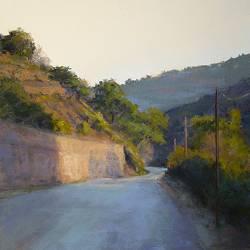 De oude weg naar Granada | schilderij van een landschap in pastel van Sophie Amauger | Exclusieve kunst online te koop bij Galerie Wildevuur