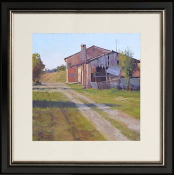 Oude boerderij | schilderij van een landschap in pastel van Sophie Amauger | Exclusieve kunst online te koop in de webshop van Galerie Wildevuur