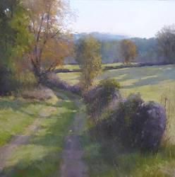 Oktober in Saillagol | schilderij van een landschap in pastel van Sophie Amauger | Exclusieve kunst online te koop in de webshop van Galerie Wildevuur