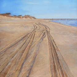 Het strand van l'Espiguette Camargue | schilderij van de zee in pastel van Sophie Amauger | Exclusieve kunst online te koop bij Galerie Wildevuur