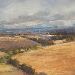 Vredig Lauragais I | schilderij van een landschap in pastel van Sophie Amauger | Exclusieve kunst online te koop in de webshop van Galerie Wildevuur