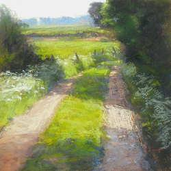 Voorjaar in Normandie | schilderij van een landschap in pastel van Sophie Amauger | Exclusieve kunst online te koop bij Galerie Wildevuur