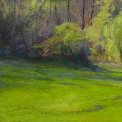 Voorjaar in Clermont le fort | schilderij van een landschap in pastel van Sophie Amauger | Exclusieve kunst online te koopbij Galerie Wildevuur
