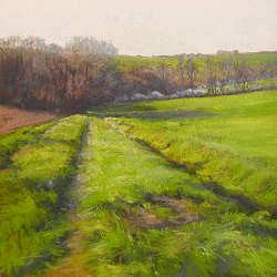 Voorjaar in Espanes | schilderij van een landschap in pastel van Sophie Amauger | Exclusieve kunst online te koop in de webshop van Galerie Wildevuur