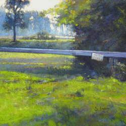 Blauw Normandie | schilderij van een landschap in pastel van Sophie Amauger | Exclusieve kunst online te koop in de webshop van Galerie Wildevuur