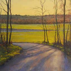 Een avond in december | schilderij van een landschap in pastel van Sophie Amauger | Exclusieve kunst online te koop bij Galerie Wildevuur