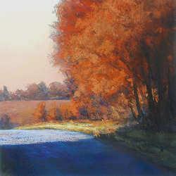 Eiken in december | schilderij van een landschap in pastel van Sophie Amauger | Exclusieve kunst online te koop in de webshop van Galerie Wildevuur